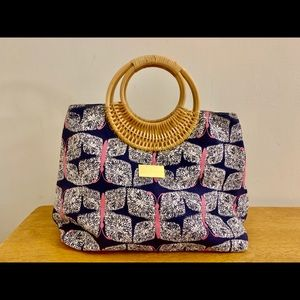 Lilly Pulitzer | Wicker handle | Butterly Bag